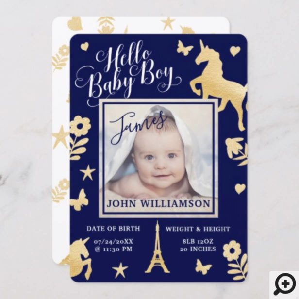Baby Boy Birth Announcement | Magical Unicorn