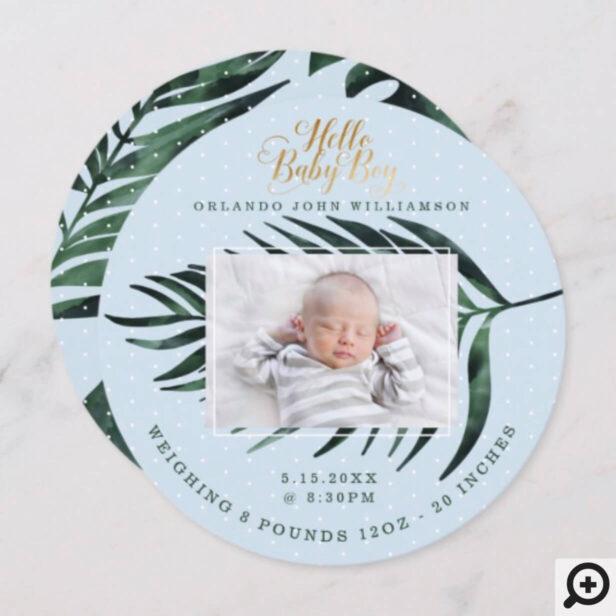 Baby Boy Birth Announcement Card Tropical Palm
