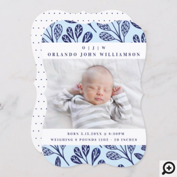 Baby Birth Announcement Card - Navy Blue branches