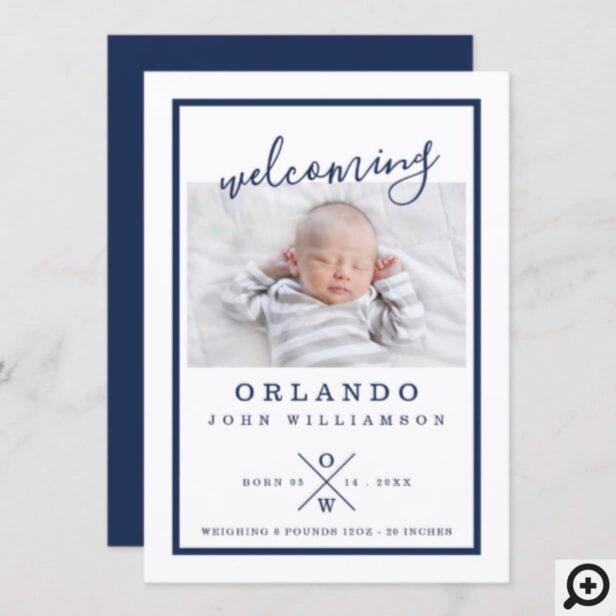 Baby Birth Announcement Card - Modern Navy & White