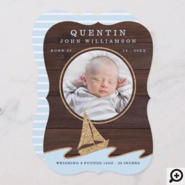 Baby Birth Announcement Card - Nautical Sail Boat