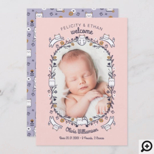 Floral Sweet Little kitty Cat Birth Announcement