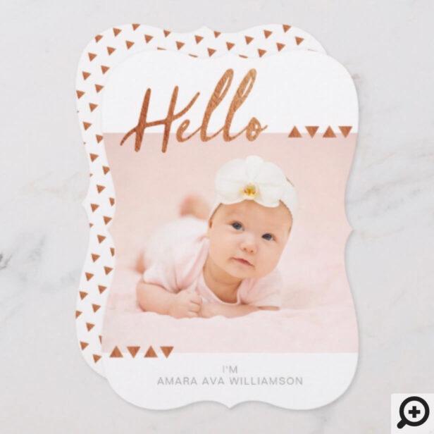 Modern & Trendy Minimalistic Geometrical Gold Baby Announcement