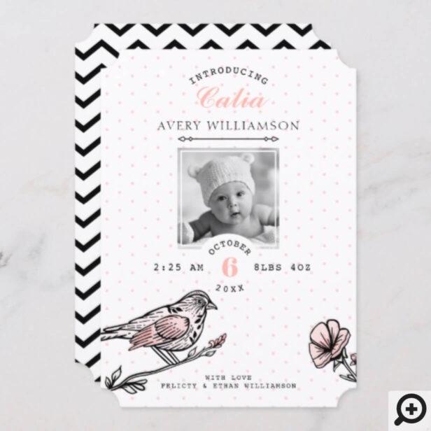 Vintage Bird Florals Black Pink Birth Announcement