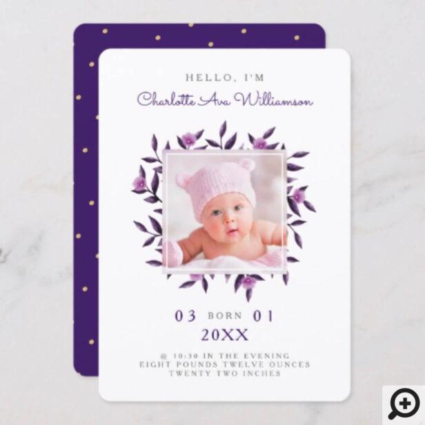 Violet Foliage Floral Wreath Birth Announcement