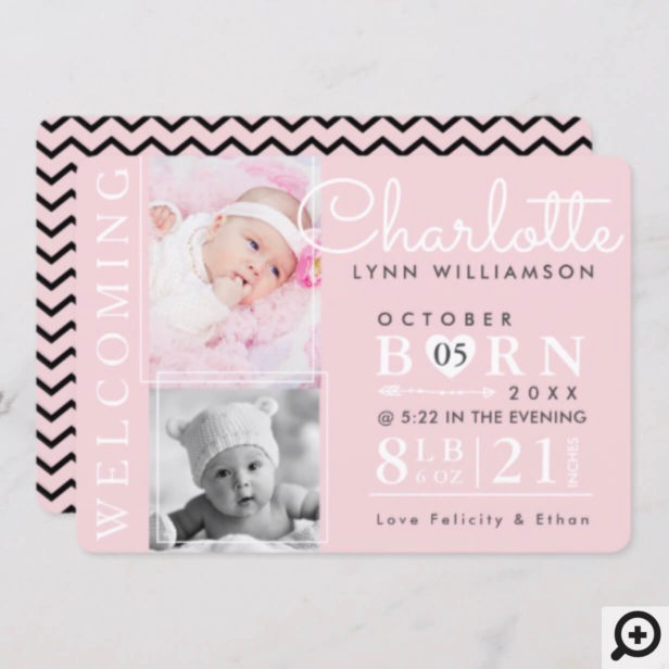 Pink & Black Chevron Girl Photo Birth Announcement