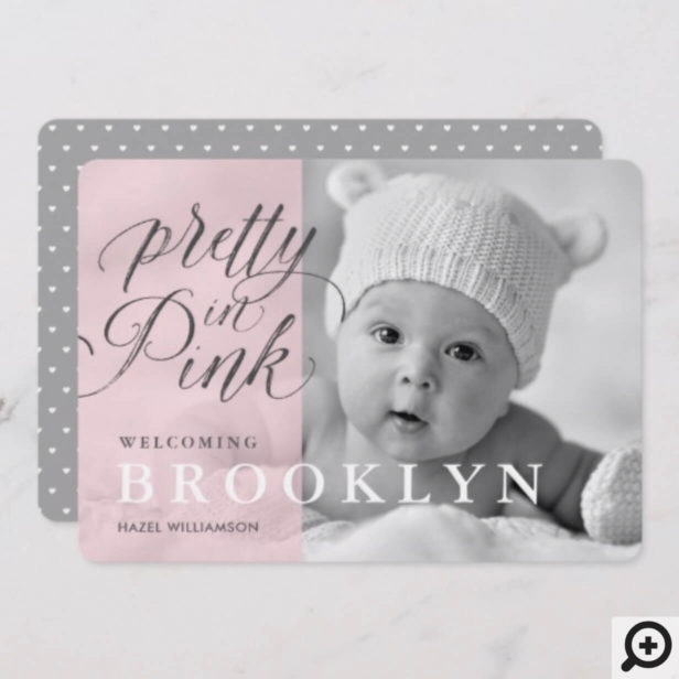 Chic Pretty In Pink Baby Birth Announcement Card