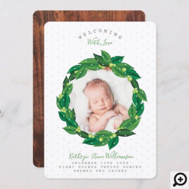 Green Watercolor Foliage Wreath Birth Announcement