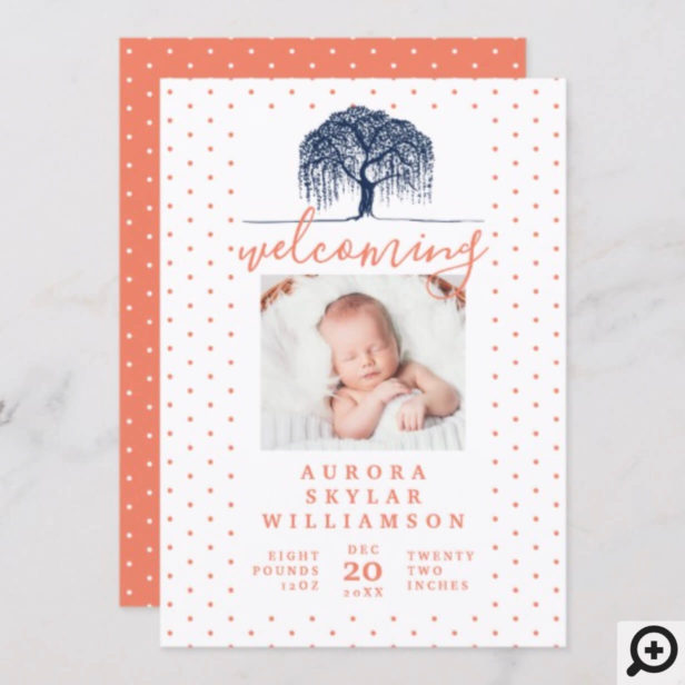 Navy & Peach Willow Family Tree Birth Announcement
