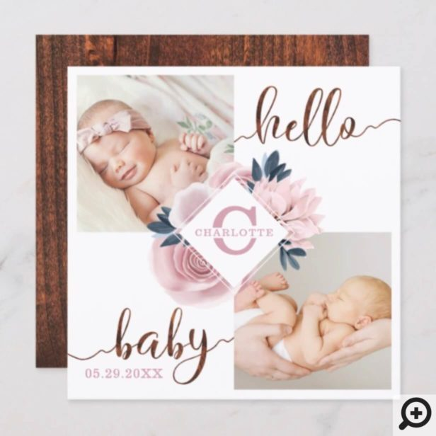 Blossom Pink Rose Floral Birth Announcement Card