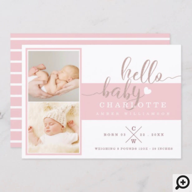 Baby Birth Announcement Card - Pink & White Stripe