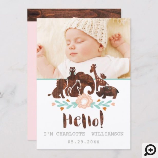 Baby Birth Announcement Card - Woodland Safari