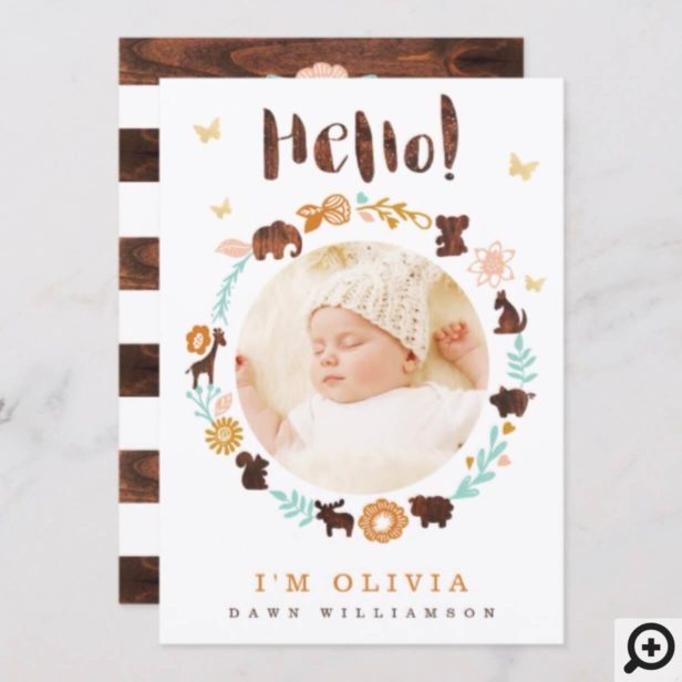 Baby Birth Announcement Card - Woodland Animals