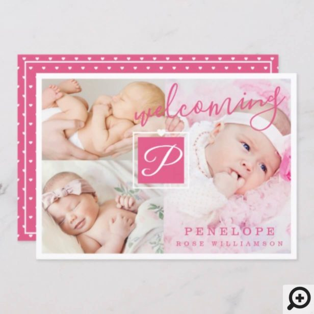 Birth Announcement - Multiple Photos Pink & White