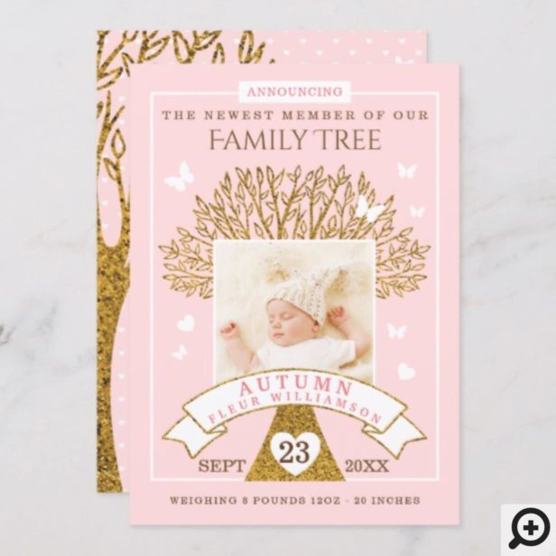 Baby Birth Announcement | Pink & Gold Family Tree