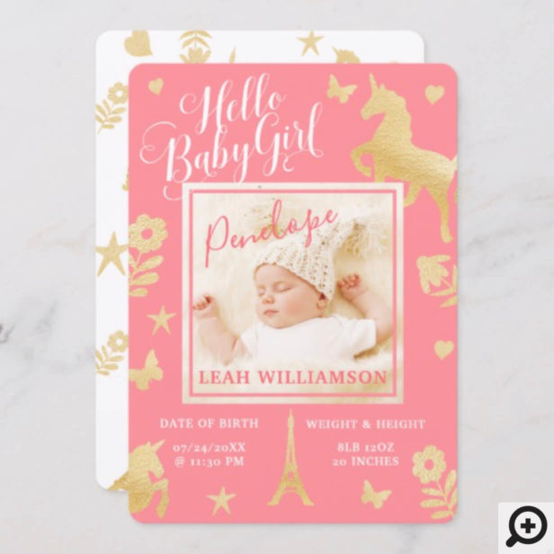 Baby Girl Birth Announcement | Magical Unicorn