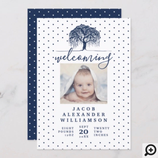 Navy Willow Family Tree Baby Birth Announcement