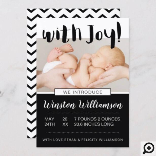Baby Boy Birth Announcement Black Chevron Pattern
