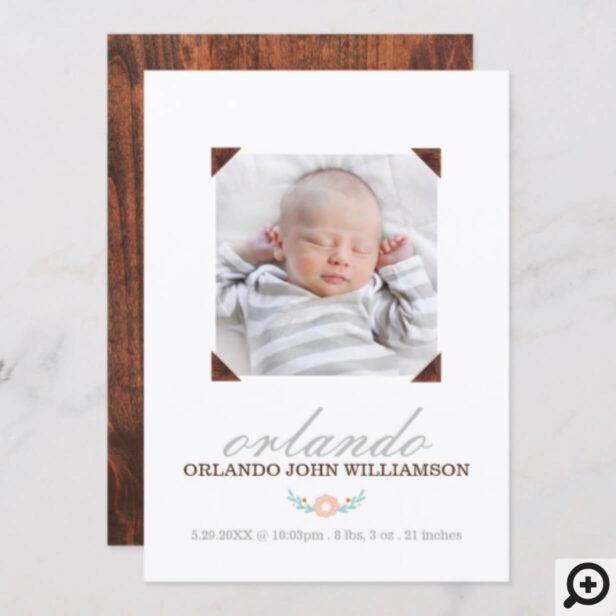 Baby Birth Announcement Card - Wooden Photo Album