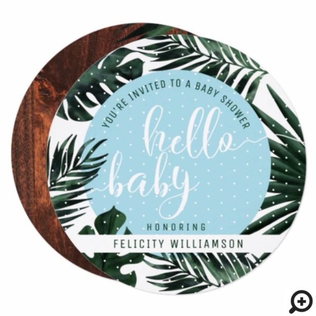 Tropical Palm Tree Leaves & Wood Boy Baby Shower Invitation