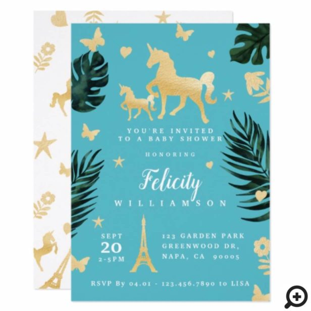 Magical Tropical Unicorn Baby Shower Invitation