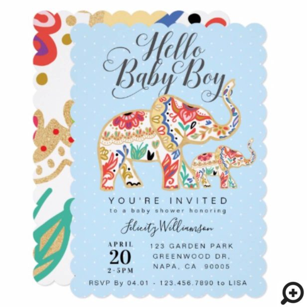Elegant Decorative Elephant Baby Shower Invitation
