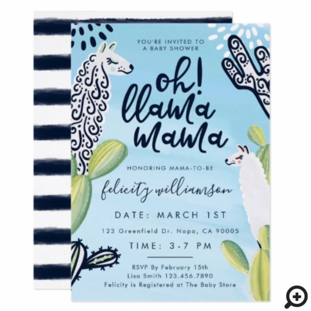 Cute Oh Llama Mama Baby Boy Baby Shower Invitation