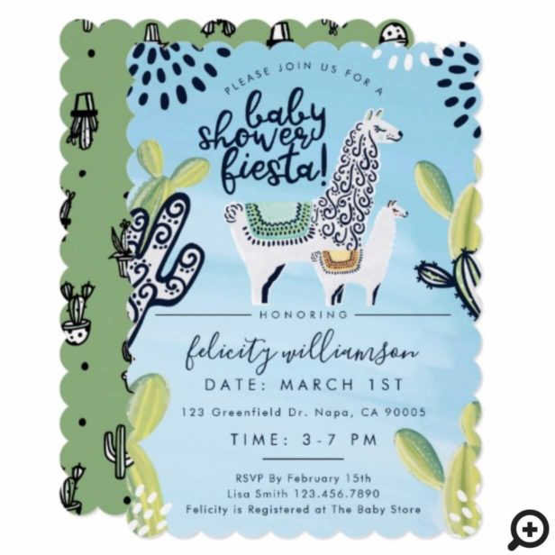 Cactus & Llama Baby Boy Shower Fiesta Invitation