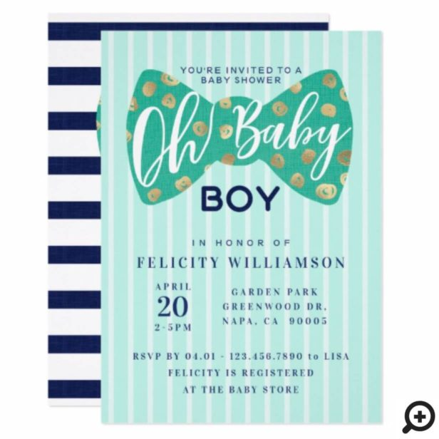 Oh Baby Boy Green & Navy Bow Tie Shower Invitation