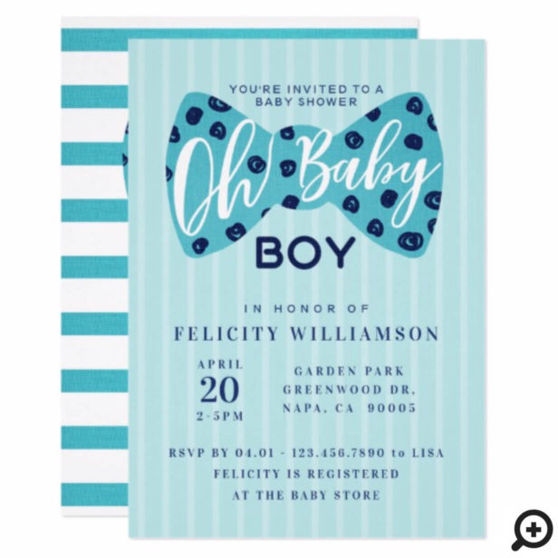 Oh Baby Boy Navy & Teal Bow Tie Shower Invitation