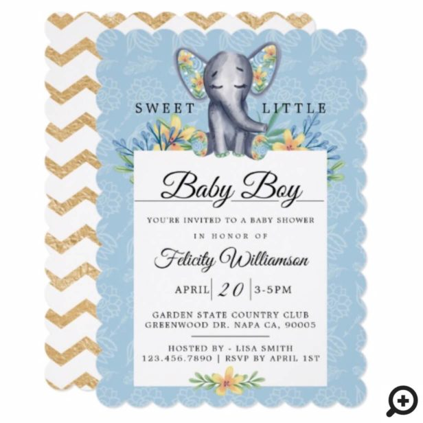 Baby Boy Floral Elephant Baby Shower Invitation