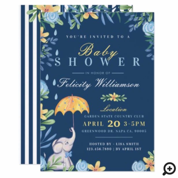 Baby Boy Elephant Umbrella Baby Shower Invitation