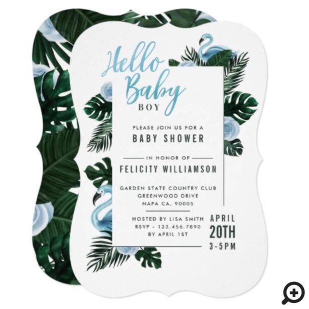 Tropical Blue Flamingo Rose Baby Shower Invitation