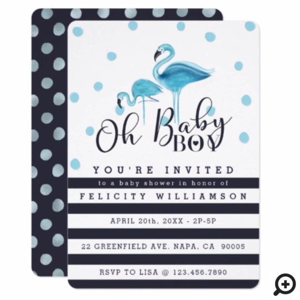 Oh Baby Boy Blue Flamingo Baby Shower Invitation