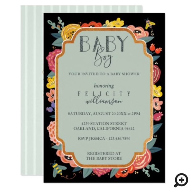 Floral Wildflowers & Honey Bee Baby Boy Shower Invitation