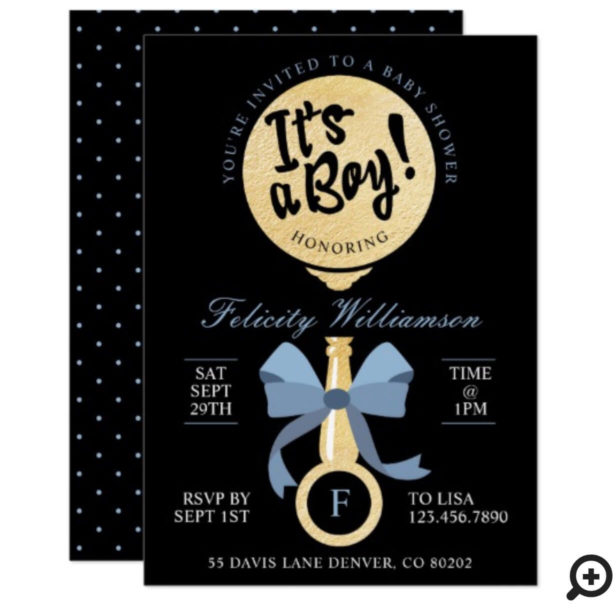 It's A Boy Baby Rattle Baby Shower Invitation