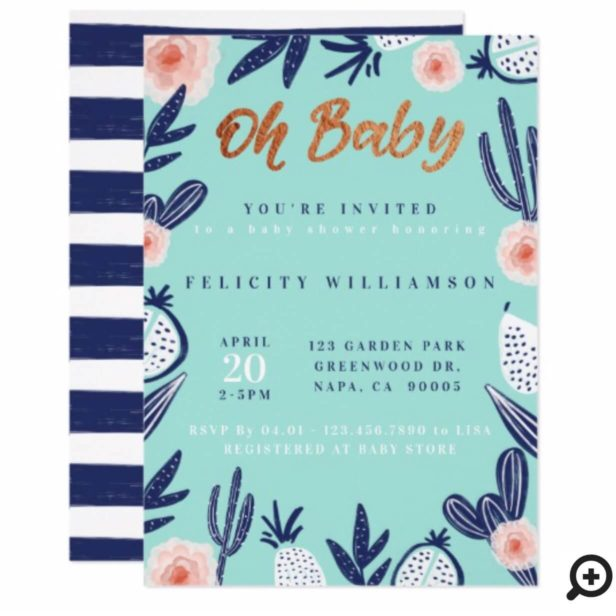Oh Baby Floral Cactus Baby Boy Shower Invitation