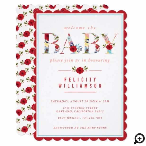 Modern Red Vintage Wildflower Baby Shower Invite