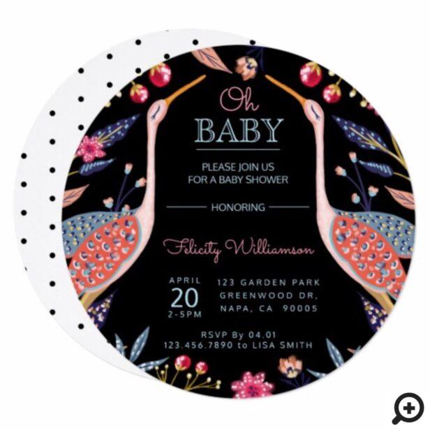 Chic Floral Botanical Stork Baby Shower Invitation