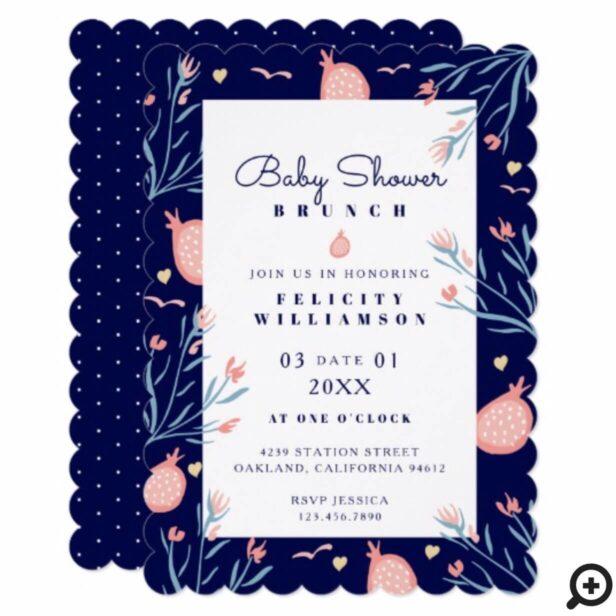 Navy Blue Pomegranate & Florals Baby Shower Brunch Invitation
