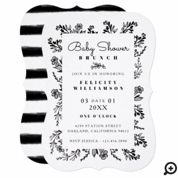 Floral Black & White Botanical Stripe Baby Shower Invitation