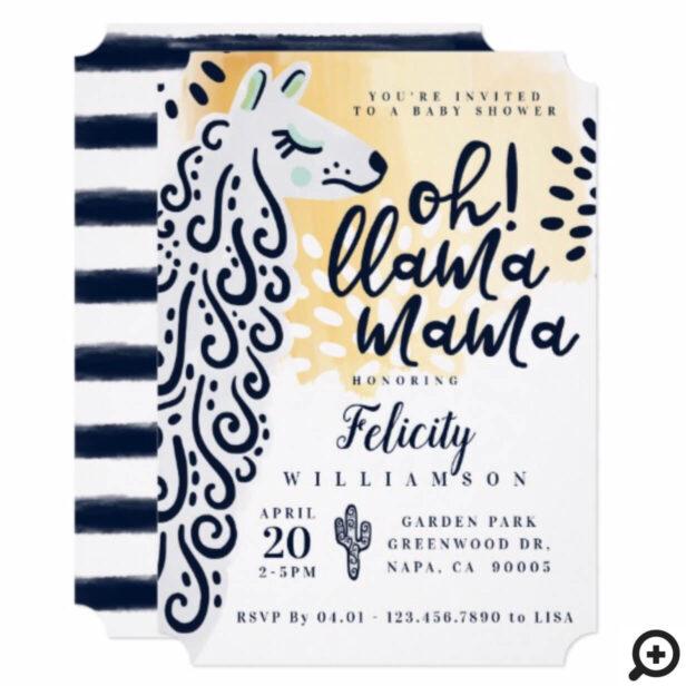 Llama Mama & Stripes - Gender Neutral Baby Shower Invitation
