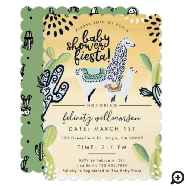 Cute Cactus & Llama Baby Shower Fiesta Invitation