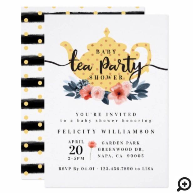 Yellow Floral Tea Party Baby Shower Invitation