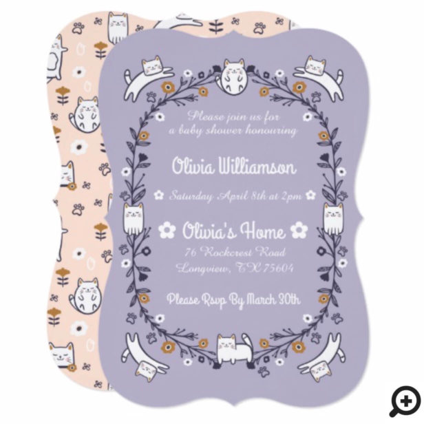 Floral Sweet Little kitty Kitten Baby Shower Invitation