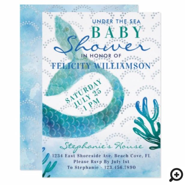 Under The Sea Ocean Mermaid Baby Shower Invitation