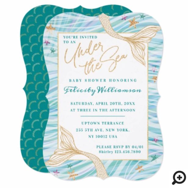 Sleek Mermaid Under The Sea Baby Shower Invitation