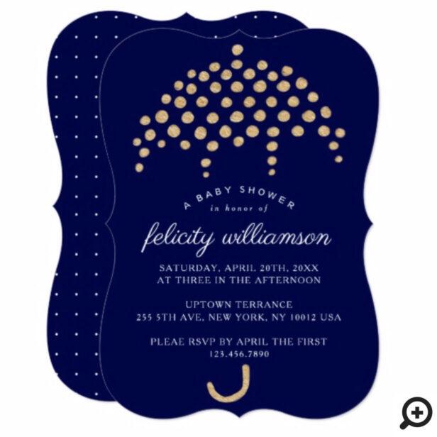 Navy, Gold Classy Polka Dot Baby Shower Invitation
