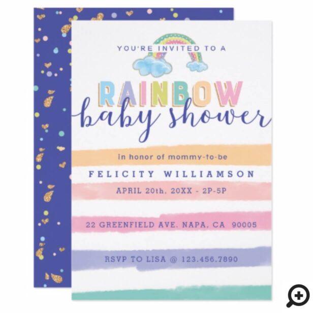 Watercolor Rainbow Stripes Baby Shower Invitation