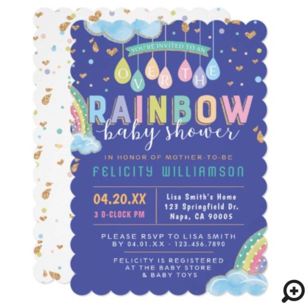 Colorful Watercolor Rainbow Baby Shower Invitation
